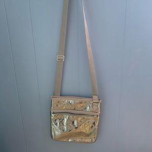 michael kors gold crossbody purse